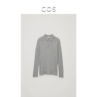 COS 0690739001 男士罗纹长袖POLO衫 (浅灰色、XS)