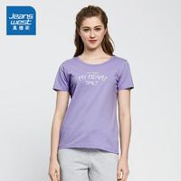 JEANSWEST 真维斯 JE-82-273106 女士短袖T恤 (8010 黑色、XXL)