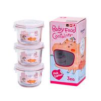 Glass lock baby 韩国进口 婴儿辅食盒套装 耐热玻璃密封储存盒 粉色圆形 165ml *4件