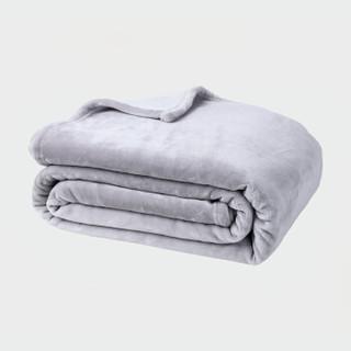 御棉堂 毛毯A类春夏空调法兰绒毯子毛巾被午睡法莱珊瑚绒盖毯被宿舍床单褥单双人 灰色 150*200cm