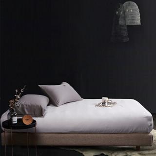 时光居品(turqua)床笠 全棉60支贡缎纯色双人床笠单件150*200*30cm 长绒棉纯棉素色简约床垫套 月光白1.5米床
