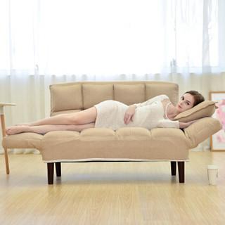 星恺(XINGKAI)懒人沙发 休闲沙发椅卧室单双人沙发 可折叠多功能沙发床 卡其色