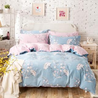 北极绒 纯棉四件套全棉套件床上用品 双人床单被套200*230cm 欣雅蓝 1.5/1.8米床