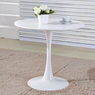 百思宜 洽谈圆桌现代简约餐桌售楼处酒店会所接待桌子 60cm白色