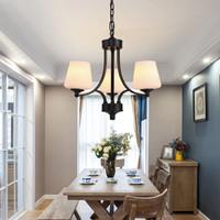 四季沐歌(MICOE )吊灯美式铁艺创意餐厅灯书房客厅灯具复古三头餐吊灯 MD08-1三头