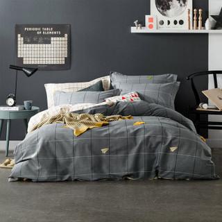 迎馨 三件套家纺 全棉简约亲肤斜纹床单枕套被罩被套三件套 适用1.2米床 随想曲