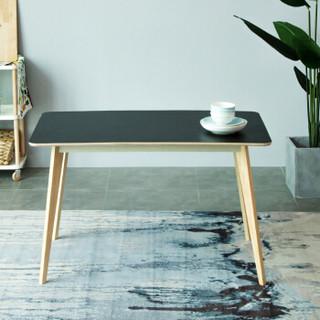 爱必居(abit)实木餐桌 北欧长方形六人饭桌子不含餐椅 黑色弧角书桌120*70CM