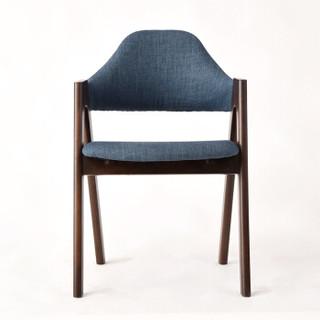 家逸电脑椅实木榉木餐椅 休闲椅办公椅咖啡椅胡桃木色