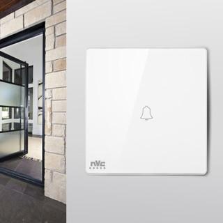 雷士(NVC) 开关插座面板 灵动系列  门铃开关  带荧光86型墙壁门铃开关插座 无边框大翘板面板白色