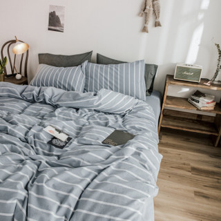 北极绒(Bejirog)套件家纺 水洗棉色织四件套 全棉床单被套 佩特拉 1.5/1.8米床