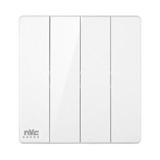 雷士(NVC) 开关插座面板 灵动系列 四位四开双控 带荧光86型床头开关插座 无边框大翘板面板白色