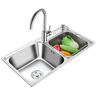 优勤(YOUQIN)304不锈钢厨房水槽 双槽套装 洗菜盆 洗菜池 洗碗槽720MM大双槽