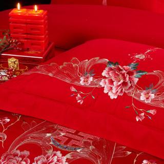 博洋家纺 BEYOND 床上用品 婚庆大红色中式绣花纯棉套件 全棉床单结婚四件套-喜结良缘 1.8米 220*240cm