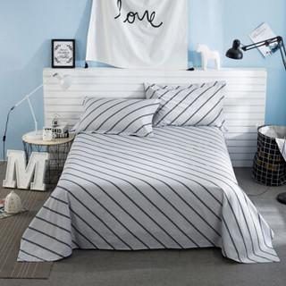 迎馨家纺 全棉床单单件床上用品高支高密床单纯棉斜纹单人床单1.2米床 绅士条纹A版 155*230cm