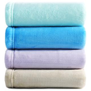 三利 素色良品超柔法兰绒双人毯子 200×230cm 居家办公午休四季通用盖毯 薄荷色