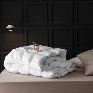 鸿润家纺 羽绒被芯 90%白鸭绒被 全棉防钻绒面料 加厚冬被保暖被子 双人200*230cm 填充1.1kg