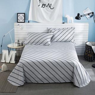迎馨 套件家纺 全棉斜纹床单单件双人学生宿舍床单 适用1.5米/1.8米床 绅士条纹A版 230*250cm