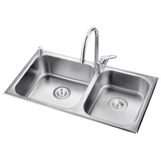 摩恩不锈钢水槽套装 304不锈钢大双槽 800mm厨房水池洗菜盆洗碗池28120 精铜冷热水高抛净铅厨房冷热水龙头