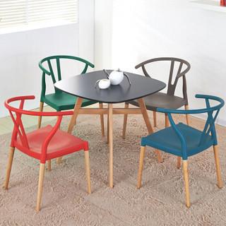 百思宜 餐桌椅现代简约咖啡厅洽谈桌椅组合 创意小桌子接待会客桌椅套装 80cm黑桌/4牛角椅