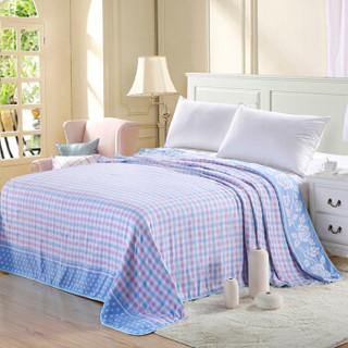 恒源祥 毛巾被全棉舒适五层无捻纱100棉毯子午睡毯加厚床单 蓝180*230cm