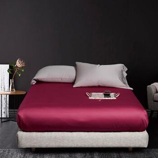 时光居品(turqua)床笠 全棉60支贡缎纯色双人床笠单件150*200*30cm 长绒棉纯棉素色简约床垫套 樱桃红1.5米床