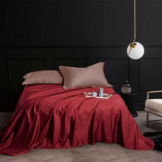 时光居品(turqua)床单 全棉60支贡缎纯色双人床单单件245*250cm 长绒棉缎纹纯棉素色简约被单 玛雅红1.5米床