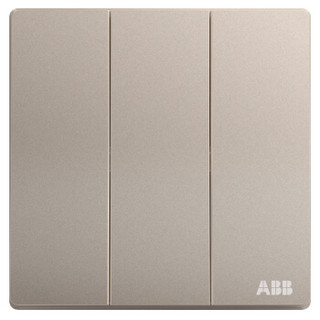 ABB开关插座面板 三位单控三开单控开关 轩致系列 金色 AF123-PG