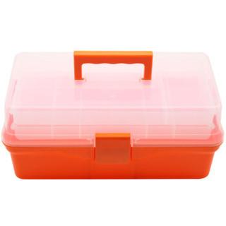 福吉斯特(Forgestar)14英寸家用手提工具收纳箱 橘色三层学生美术零件盒医药箱 G569