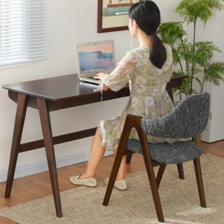 家逸 电脑椅实木 榉木餐椅 休闲椅办公椅咖啡椅胡桃木色