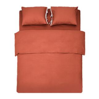 网易严选 竹语初棉撞色四件套 床上用品套件四件套床单被套  砖釉红 1.5米床(被套200x230cm)