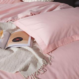 瑞卡丝家纺 全棉四件套 床单式斜纹纯色套件简约纯棉床上双人床品套件1.5/1.8米床被套200*230 玉色