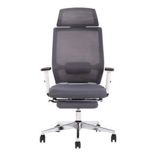 中伟电脑椅午休椅办公椅子人体工学椅家用转椅网椅时尚座椅休闲椅子白框灰网带搁脚