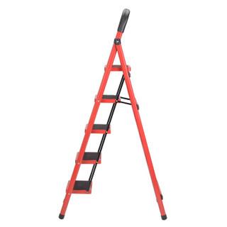 耐维 Niceway 家用梯 家用梯子加厚防滑折叠人字梯单侧工程梯 红色五步梯