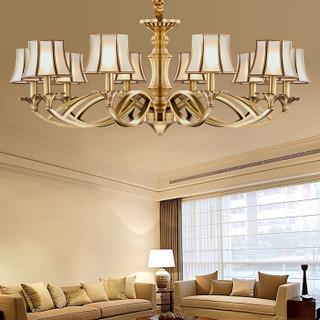雷士(NVC)led欧式客厅灯吊灯具铜灯饭厅餐厅卧室吊灯创意复古个性灯具灯饰  10头 E14灯头 不带光源