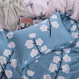 浪莎 套件家纺 四件套纯棉全棉斜纹印花婚庆套件床单被罩枕套床上用品 漫花语梦 1.8-2.0米床/被套220*240cm