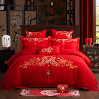 博洋家纺 BEYOND 床上用品 婚庆大红色中式绣花纯棉套件 全棉床单结婚四件套-喜结良缘 1.5米 200*230cm
