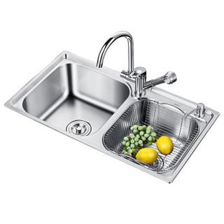 家蕊(JIARUI)7843A+85105 水槽+豪华可抽拉龙头套餐 304不锈钢水槽双槽 水槽龙头套装 厨房洗菜盆洗碗池