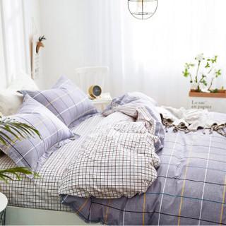 红瑞家纺 床上用品四件套 纯棉双人被罩床品套件 全棉床单枕套被套 1.5/1.8米200*230cm 漫步时尚