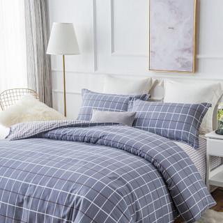 九洲鹿 套件家纺 全棉高支床上用品斜纹印花单人学生三件套 床单被套 索菲格 1.2米床 150*200cm