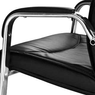 中伟电脑椅会议椅家用弓形脚办公椅子洽谈椅会客椅加厚钢架款-黑色