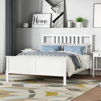 杜沃 床 汉尼斯实木床双人床1.5m北欧风婚床1.8米卧室家具 浪漫白 1.5米