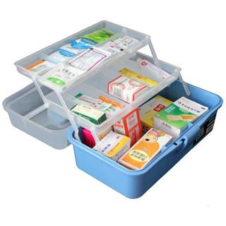 老A(LAOA)LA111905 三层塑料五金工具箱收纳箱医药箱美术箱12.5英寸蓝色