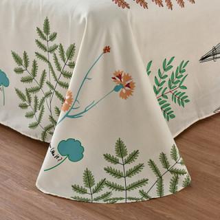 意尔嫚 床上用品 纯棉床单床罩单件 单人全棉学生宿舍床垫保护罩 1.2米床 160*230cm 松香迷情