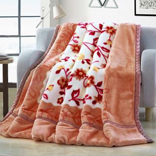 雅鹿·自由自在 毛毯被子 加厚双层拉舍尔盖毯 透气冬季婚庆柔软保暖单双人绒毯 约5.6斤 180*220cm 勿忘我