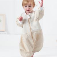欧孕 婴儿纯棉睡袋宝宝春季秋儿童分腿睡袋四季保暖防踢被 孕早0-4岁 五彩条纹 M *3件