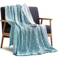 三利 纯棉AB版符号纱布毛巾被 40s精梳纱 居家午休四季通用盖毯 双人200×230cm 蓝色