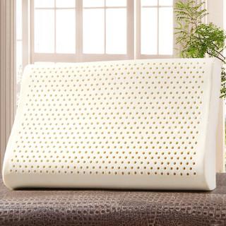 艾薇(AVIVI)波浪透气护颈乳胶枕 泰国进口乳胶枕头枕芯60*40(针织内套天鹅绒可拆洗枕套)