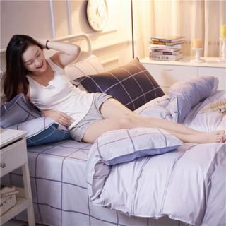 北极绒 纯棉四件套全棉套件床上用品 双人床单被套200*230cm 经典条格 1.5/1.8米床