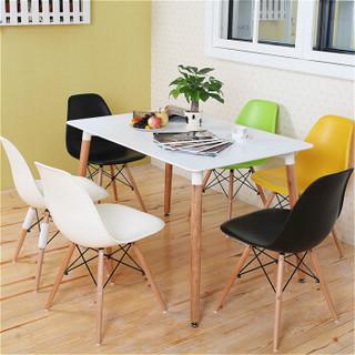 百思宜 餐桌小户型饭桌现代简约长方形咖啡厅售楼处接待洽谈桌子 120*80白色长桌(不含椅)