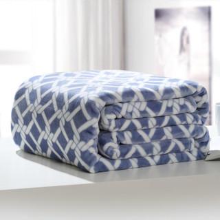 御棉堂 毛毯A类春夏空调法兰绒毯子毛巾被午睡法莱珊瑚绒盖毯被宿舍床单褥单双人 印花牛仔蓝180*200cm